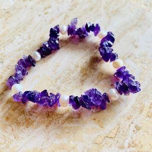 Jewelry - Bracelet amethyst pearls
